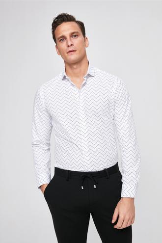Twn Slim Fit Beyaz Baskılı Gomlek - 8681779785293 | D'S Damat