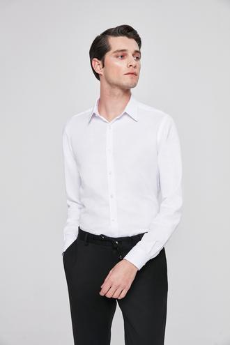 Twn Slim Fit Beyaz Armürlü Gomlek - 8681779788362 | D'S Damat