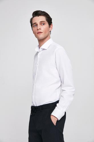 Twn Slim Fit Beyaz Armürlü Gömlek - 8682060170972 | D'S Damat