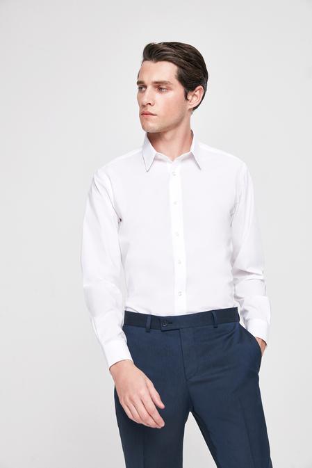 Twn Slim Fit Beyaz Düz Gömlek - 8682060774682   D'S Damat