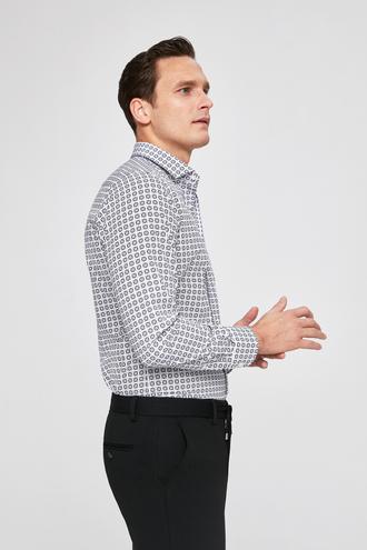 Twn Slim Fit Beyaz Baskılı Gömlek - 8682060171535 | D'S Damat