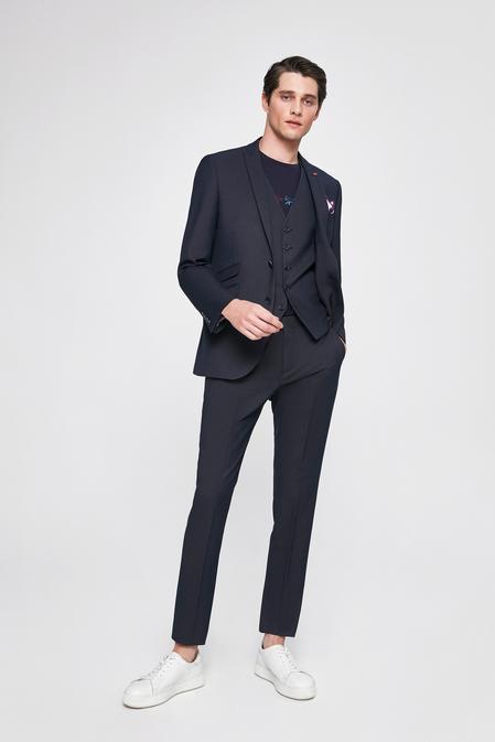 Twn Slim Fit Lacivert Armürlü Yelekli Takım Elbise - 8682445102864   D'S Damat