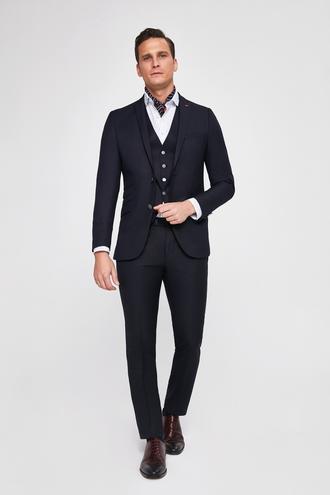 Twn Slim Fit Slim Fit Lacivert Düz Yelekli Takim Elbise - 8682060177919 | D'S Damat