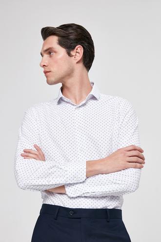 Twn Slim Fit Beyaz Baskılı Gömlek - 8682445310993 | D'S Damat