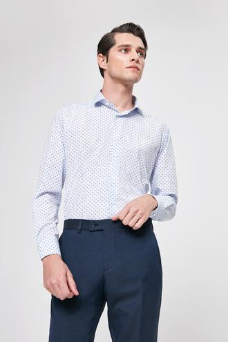Twn Slim Fit Mavi Baskılı Gömlek - 8682060196149 | D'S Damat