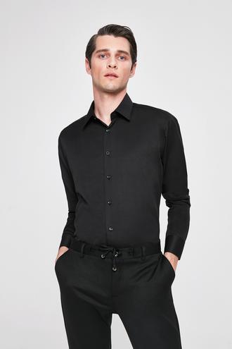 Twn Slim Fit Siyah Armürlü Gomlek - 8682060196354 | D'S Damat