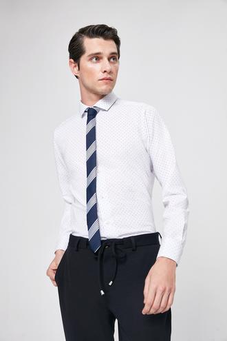 Twn Slim Fit Beyaz Armürlü Gomlek - 8682060197665 | D'S Damat
