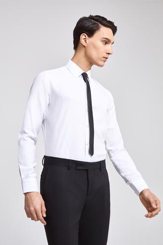 Twn Slim Fit Beyaz Armürlü Gomlek - 8682060198013 | D'S Damat