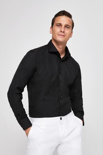 Ds Damat Slim Fit Siyah Armürlü Gomlek - 8682060198679 | D'S Damat
