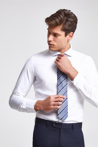 Ds Damat Slim Fit Beyaz Armürlü Gomlek - 8682060198730 | D'S Damat