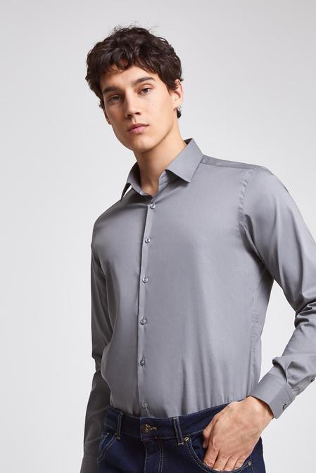 Twn Slim Fit Gri Düz Stretch Gömlek - 8682445301113 | D'S Damat