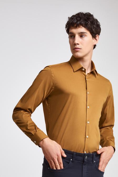 Twn Slim Fit Hardal Düz Stretch Gömlek - 8682445301496 | D'S Damat