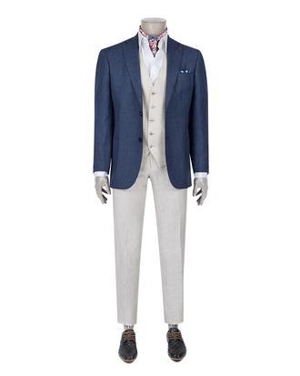 Ds Damat Slim Fit Slim Fit Lacivert Armürlü Kombinli Takım Elbise - 8681779892984 | D'S Damat