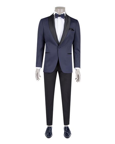 Ds Damat Slim Fit Slim Fit Lacivert Jakar Desenli Smokin Takım Elbise - 8682060622037 | D'S Damat