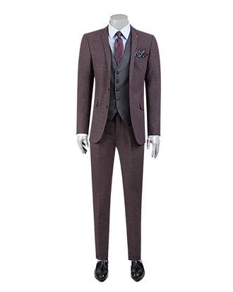 Twn Slim Fit Slim Fit Bordo Yelekli Takim Elbise - 8682060141200 | D'S Damat