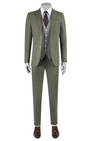 Twn Slim Fit Slim Fit Haki Düz Kombinli Takım Elbise - 8682060361073 | D'S Damat