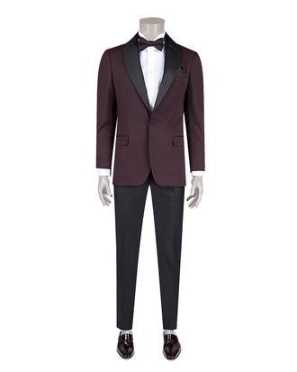 Ds Damat Slim Fit Bordo Desenli Smokin Takım Elbise - 8681779912651 | D'S Damat