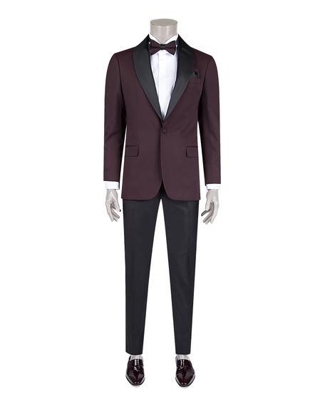 Ds Damat Slim Fit Bordo Jakar Desenli Smokin Takım Elbise - 8682060621573 | D'S Damat