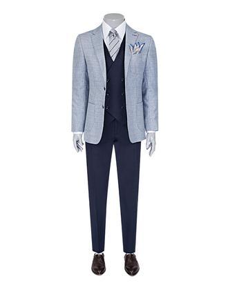 Ds Damat Slim Fit Mavi Dokulu Kombinli Takım Elbise - 8681779321491   D'S Damat