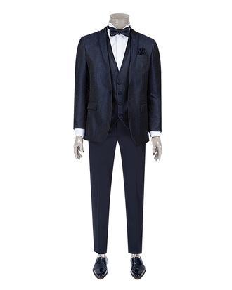 Ds Damat Slim Fit Slim  Fit Lacivert Desenli Takim Elbise - 8681778236673 | D'S Damat