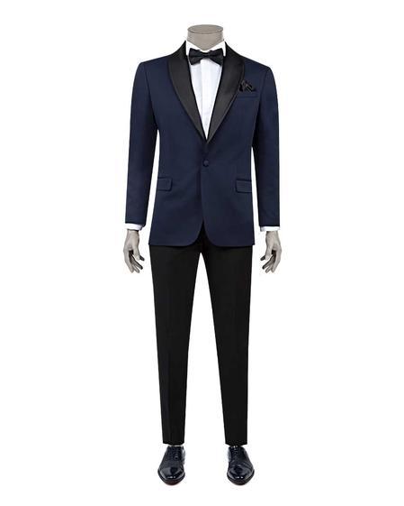Ds Damat Slim Fit Slim Fit Lacivert Jakar Desenli Smokin Takım Elbise - 8682060628510 | D'S Damat