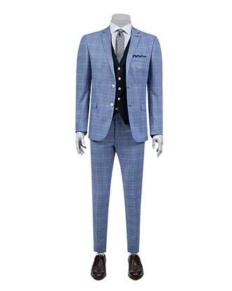 Twn Süper Slim Fit Mavi Kareli Kombinli Takım Elbise - 8681779333524   D'S Damat