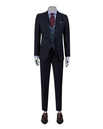 Ds Damat Slim Fit Slim Fit Lacivert Armürlü Yelekli Takim Elbise - 8682060395856 | D'S Damat