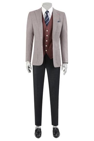 Ds Damat Slim Fit Slim Fit Kırmızı Armürlü Kombinli Takım Elbise - 8681779864813 | D'S Damat