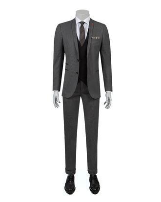 Twn Slim Fit Slim Fit Gri Armürlü Kombinli Takım Elbise - 8682060361707 | D'S Damat