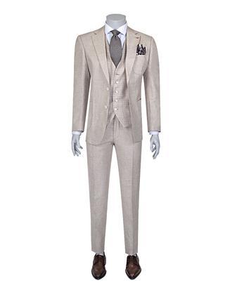 Ds Damat Slim Fit Bej Düz Kombinli Takım Elbise - 8681779321620   D'S Damat