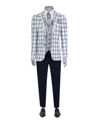 Ds Damat Slim Fit Ekru Ekoseli Kombinli Takım Elbise - 8681779321712 | D'S Damat