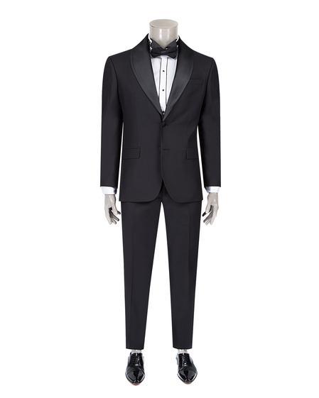Ds Damat Slim Fit Slim Fit Siyah Düz Smokin Takım Elbise - 8682060620262 | D'S Damat