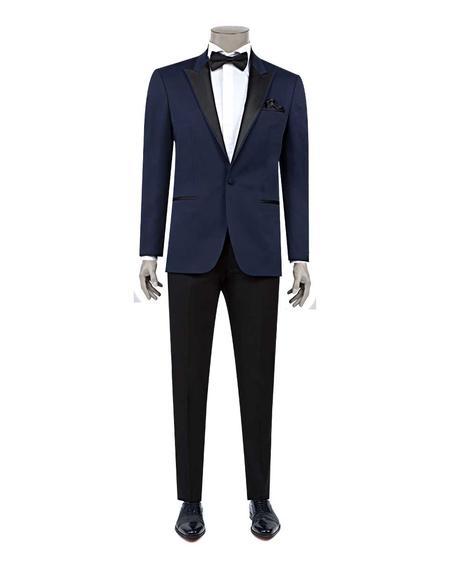 Ds Damat Slim Fit Slim Fit Lacivert Jakar Desenli Smokin Takım Elbise - 8682060620453 | D'S Damat
