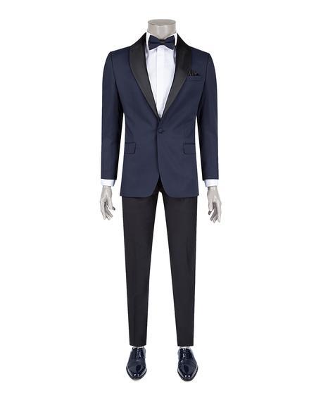 Ds Damat Slim Fit Lacivert Jakar Desenli Smokin Takım Elbise - 8682060620910 | D'S Damat