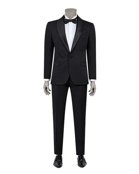 Ds Damat Slim Fit Slim Fit Siyah Jakar Desenli Smokin Takım Elbise - 8682060628404 | D'S Damat