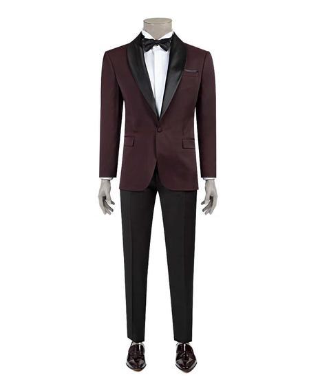 Ds Damat Slim Fit Slim  Fit Bordo Jakar Desenli Takim Elbise - 8682060628749   D'S Damat