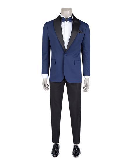 Ds Damat Slim Fit Slim Fit Saks Mavi Jakar Desenli Smokin Takım Elbise - 8682060628640 | D'S Damat