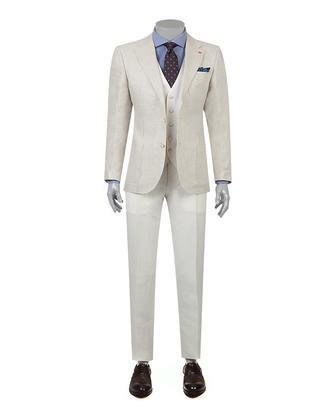 Ds Damat Slim Fit Bej Dokulu Kombinli Takım Elbise - 8681779336808 | D'S Damat