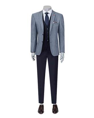 Twn Slim Fit Slim Fit Lacivert Yelekli Takim Elbise - 8682060140906 | D'S Damat