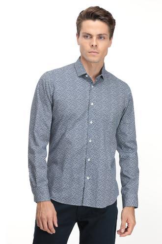 Twn Slim Fit Lacivert Baskılı Gömlek - 8682060840004 | D'S Damat