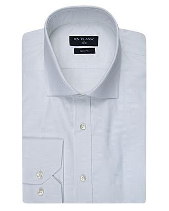 Ds Damat Slim Fit Beyaz Armürlü Gömlek - 8681494606408 | D'S Damat