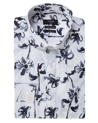 Twn Slim Fit Beyaz Baskılı Gömlek - 8681494731681 | D'S Damat
