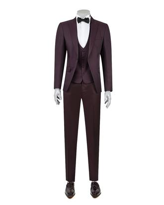 Ds Damat Slim Fit Slim Fit Bordo Jakar Desenli Takim Elbise - 8681494799421 | D'S Damat