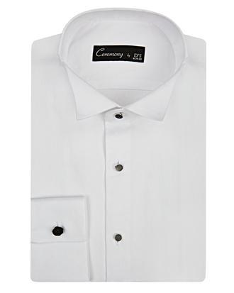 Ds Damat Slim Fit Beyaz Dokulu Smokin Gömlek - 8681494802497 | D'S Damat