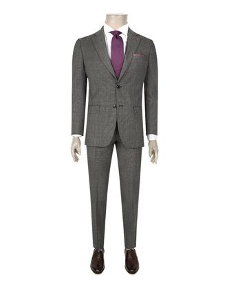 Ds Damat Slim Fit Slim Fit Antrasit Ekoseli Takım Elbise - 8681494987941 | D'S Damat