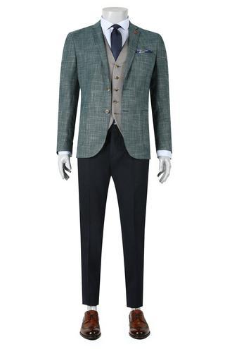Twn Slim Fit Slim Fit Yeşil Yelekli Takim Elbise - 8681779906445 | D'S Damat