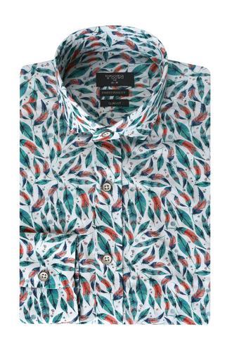Twn Slim Fit Yeşil Baskılı Gömlek - 8681778043448 | D'S Damat