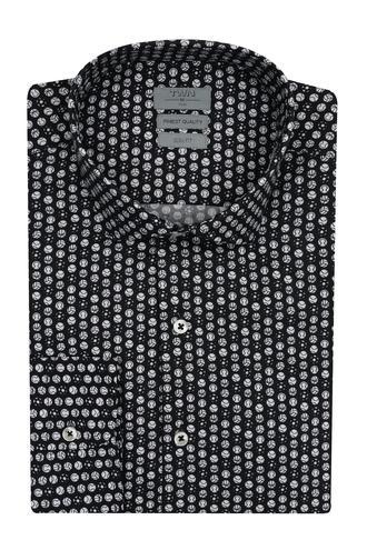 Twn Slim Fit Siyah Baskılı Gömlek - 8682060840172 | D'S Damat