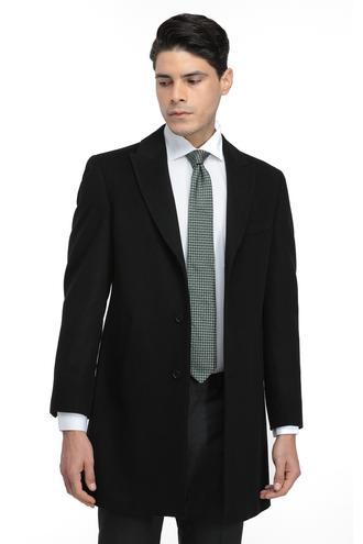Ds Damat Slim Fit Siyah Düz Palto/Pardesu - 8682060001887   D'S Damat