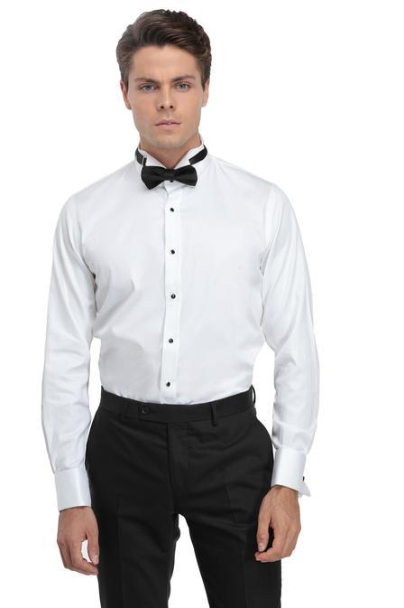 Ds Damat Slim Fit Beyaz Düz Smokin Gömlek - 8682060616487 | D'S Damat